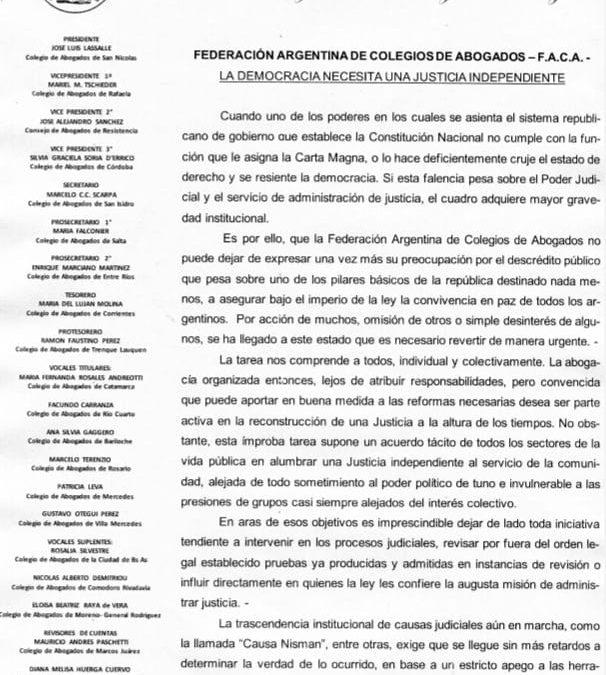 COMUNICADO POR LA F.A.C.A