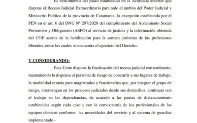 «Finalización del receso judicial extraordinario»