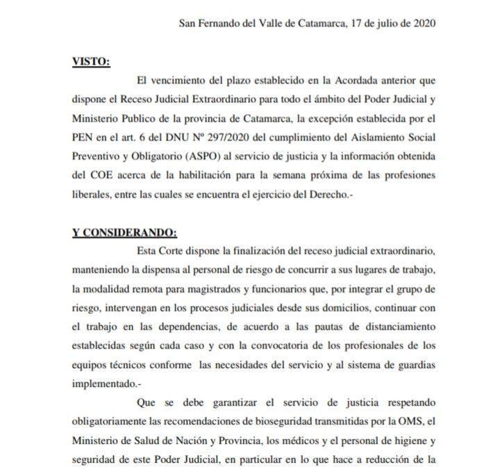"""""""Finalización del receso judicial extraordinario"""""""